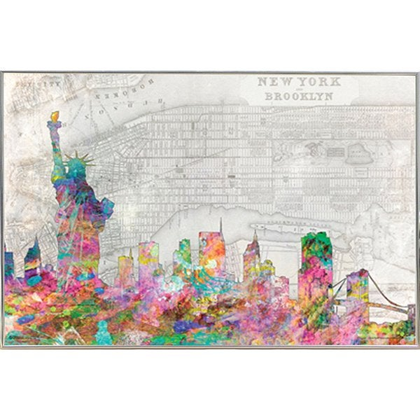 Shop NYC Skyline - Color Poster (24x36) with Metal Frame I (Silver ...