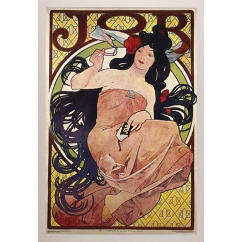 Mucha Job 24-inch x 36-inch Poster with White Simply Poly Frame