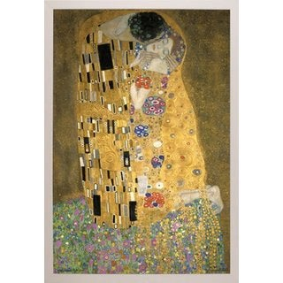 Gustav Klimt 'The Kiss' 24-inch x 36-inch Poster With White Simply Poly Frame