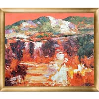 Alex Bertaina 'Provence Orange' Hand Painted Framed Oil Reproduction on Canvas