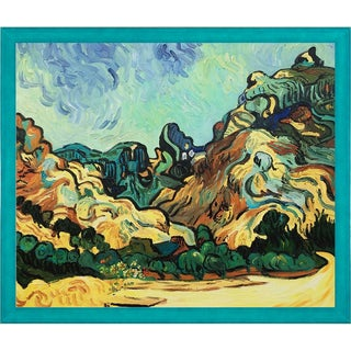 Vincent Van Gogh 'Mountains at St. Remy with Dark Cottage' Hand Painted Framed Oil Reproduction on Canvas