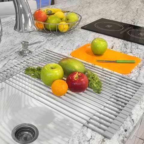 Warm Grey Roll-up Dish Drying Rack