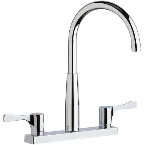 "Elkay 8"" Centerset Exposed Deck Mount Faucet with Gooseneck Spout and 2-5/8"" Lever Handles Chrome"