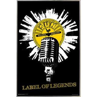 Sun Records Silver Metal Frame Mic Poster (24 x 36)