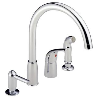 Delta Peerless Chrome Single-handle Widespread Kitchen Waterfall Faucet With Soap Dispenser