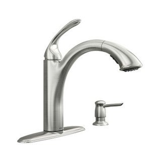 Moen Kinzel Spot Resist Stainless 87035SRS Pullout Spray Single Hole Kitchen Faucet With Soap Dispenser