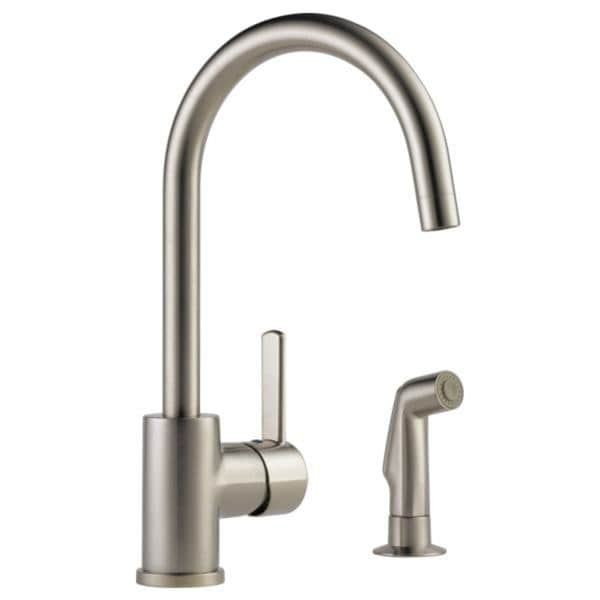 Peerless Stainless Steel Single Handle Kitchen Faucet And Spray
