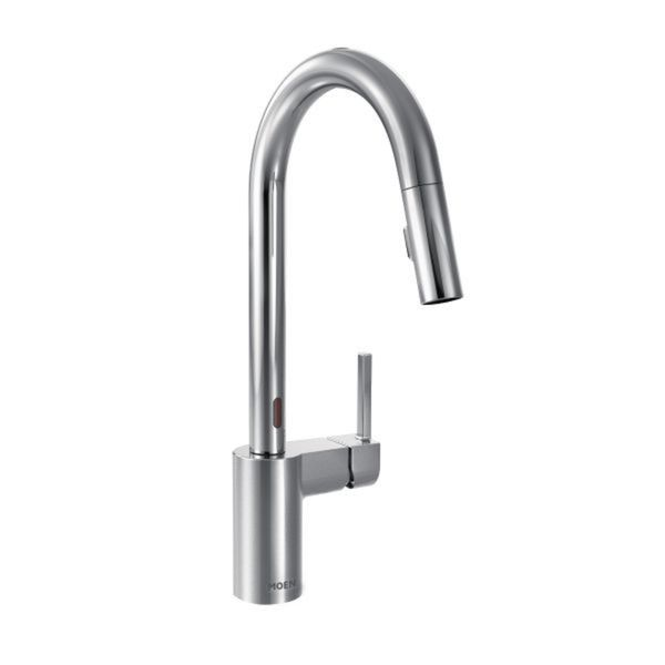 Moen Align Chrome Pullout Spray Electronic Singlehole Kitchen - Single hole kitchen faucet with pull out spray