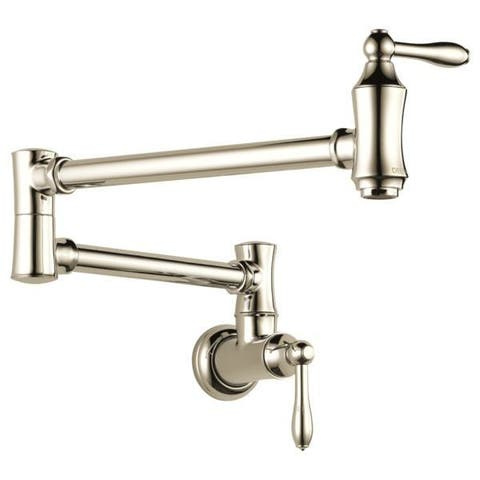 Delta Cassidy Traditional Wall Mount Pot Filler 1177LF-PN Polished Nickel