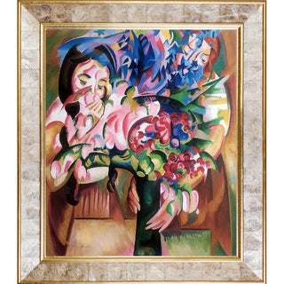 Alice Bailly 'Flowers and Figures' Hand Painted Framed Oil Reproduction on Canvas