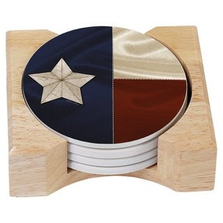Counterart Absorbent Stone Coasters in Wooden Holder - Texas Flag (Set of 4)