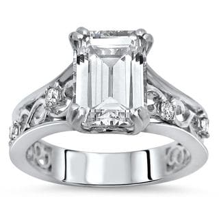 Noori Certified 14k White Gold Emerald-cut Moissanite and 1/6ct TDW Diamond Engagement Ring (G-H, SI2-I1)