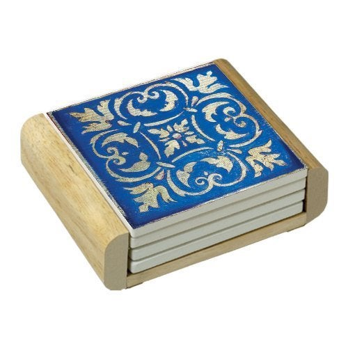 Counterart absorbent stone coasters in wooden holder spanish tiles blue set of 4 free - Stone absorbent coasters ...