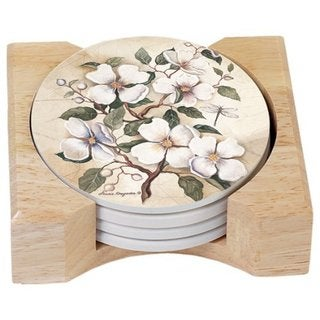 Counterart Absorbent Stone Coasters in Wooden Holder, Dogwood, Set of 4