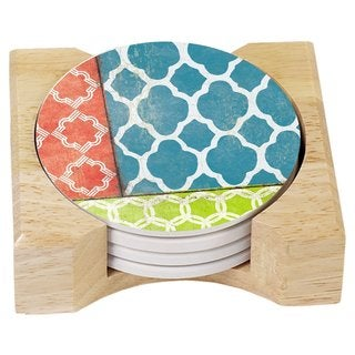 Counterart Absorbent Stone Coasters in Wooden Holder, Coral/Teal Quatrefoil, Set of 4