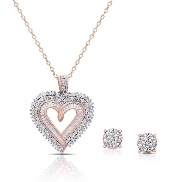 Finesque Rose Gold Overlay 1 4ct Tdw Diamond Heart Necklace And Earrings Set