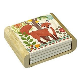 Counterart Absorbent Stone Coasters in Wooden Holder, Woodland Friends Fox, Set of 4