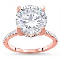 Noori Certified 14k Rose Gold Round Moissanite and 1/3ct TDW Diamond Halo Engagement Ring (G-H, SI1-SI2) - White