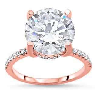 Noori Certified 14k Rose Gold Round Moissanite and 1/3ct TDW Diamond Halo Engagement Ring (G-H, SI1-SI2) - White