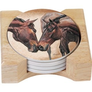 Counterart Absorbent Stone Coasters in Wooden Holder, Horse Kiss, Set of 4
