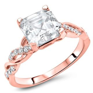 Noori Certified 14k Rose Gold Moissanite and 1/5ct TDW Diamond Engagement Ring (F-G, SI1-SI2) - White