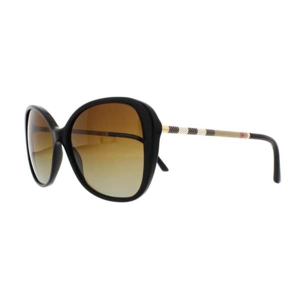 replicas new specials variety of designs and colors Burberry Women's BE4235Q 3001T5 57 Cateye Plastic Black Brown Sunglasses