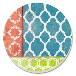 Counterart Absorbent Stone Coaster (Set of 4) Coral/Teal Quatrefoil