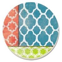 Counterart Absorbent Stone Coaster (Set of 4) Coral/Teal Quatrefoil