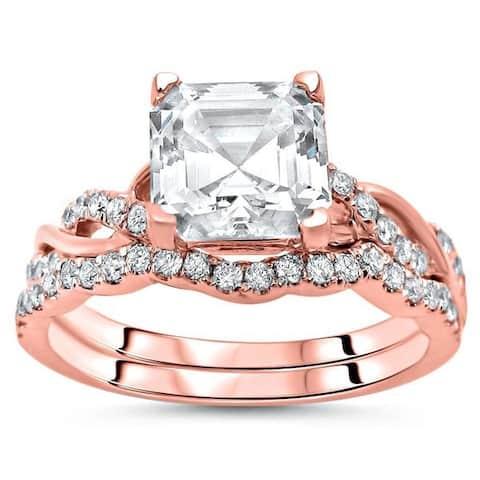 14k Rose Gold Moissanite and 2/5ct TDW Diamond Engagement Ring Bridal Set (F-G, SI1-SI2) - White