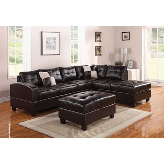 Mandy Tufted Espresso Leather Sectional Sofa with Storage Ottoman
