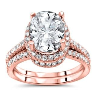 Noori Certified 14k Rose Gold Oval-cut Moissanite and 1/2ct TDW Diamond Bridal Set (G-H, SI1-SI2)