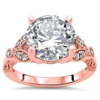 Noori Certified 14k Rose Gold Moissanite and 1/6ct TDW Diamond Engagement Ring (G-H, SI1-SI2) - White