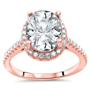 Noori Certified 14k Rose Gold 2 1/6ct TGW Moissanite and 1/3ct TDW Diamond Engagement Ring (G-H, SI1-SI2)