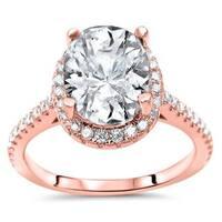 Noori Certified 14k Rose Gold 2 1/6ct TGW Moissanite and 1/3ct TDW Diamond Engagement Ring (G-H, SI1-SI2) - White