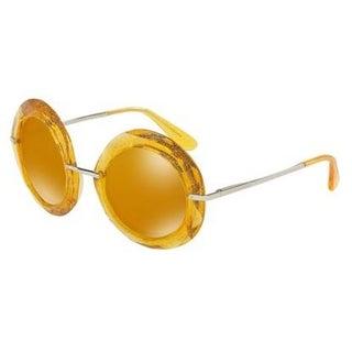 Dolce & Gabbana Women's DG6105 3103N0 50 Round Plastic Brown Sunglasses