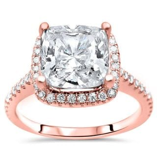 Certified 14k Rose Gold 2 1 3ct TGW Cushion Cut Moissanite And 1 3ct TDW Diamond Engagement Ring G H SI1 SI2 White