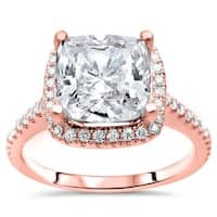 Noori Certified 14k Rose Gold 2 1/3ct TGW Cushion-cut Moissanite and 1/3ct TDW Diamond Engagement Ring (G-H, SI1-SI2) - White