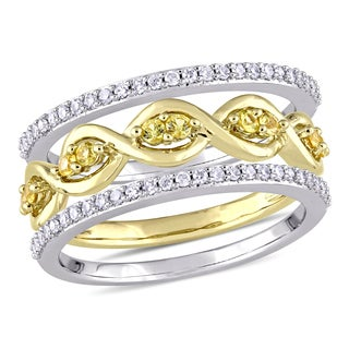 Miadora 14k 2-Tone White and Yellow Gold 1/4ct TDW Diamond and Yellow Sapphire 3-Piece Infinity Ring Set (G-H, I1-I2)