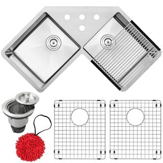"""44 1/4"""" Ticor TR1400 Bradford Series 16-Gauge Stainless Steel Undermount Double Basin Kitchen Corner Sink with Accessories"""