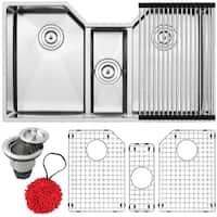 "35 1/2"" Ticor TR1500 Bradford Series 16-Gauge Stainless Steel Undermount Triple Basin Kitchen Sink with Accessories"