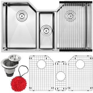 "35 1/2"" Ticor TR1500 Bradford Series 16-Gauge Stainless Steel Undermount Triple Basin Kitchen Sink with Accessories"