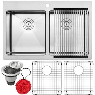 33-inch Ticor 16-gauge Stainless Steel Double Bowl Kitchen Sink