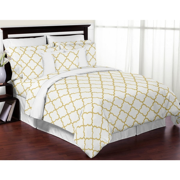 shop sweet jojo designs white and gold trellis collection 3 piece comforter set free shipping. Black Bedroom Furniture Sets. Home Design Ideas