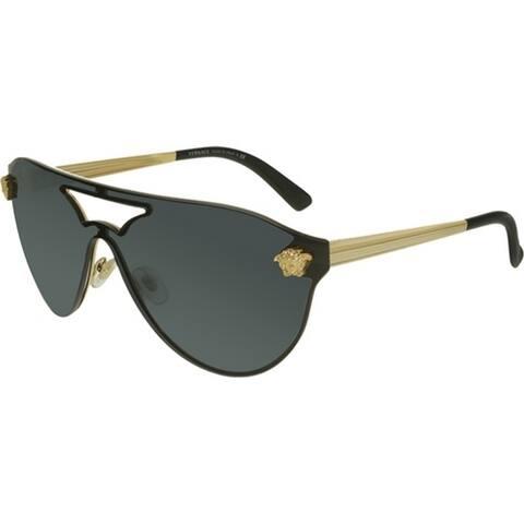 Versace Women's VE2161 100287 42 Aviator Metal Plastic Grey Sunglasses