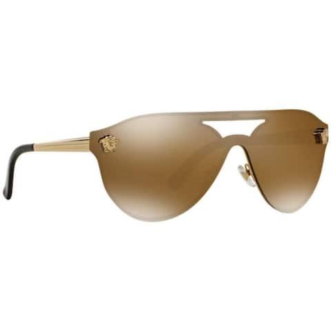 Versace Women's VE2161 1002F9 42 Aviator Metal Plastic Brown Sunglasses