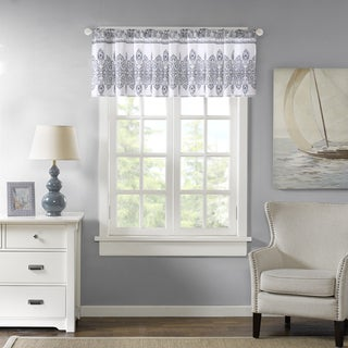 "Harbor House Sanibel Blue Cotton Window Valance with Rod Pocket Top Finish - 50 x 20"""