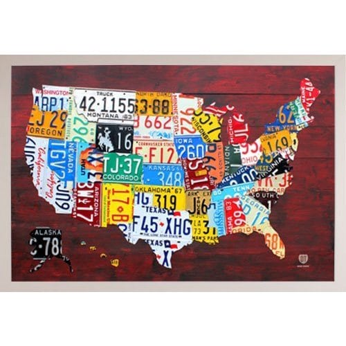 Shop License Plate Map Of The Us White Poly Frame 36 X 24 Inch - Us-map-with-license-plates