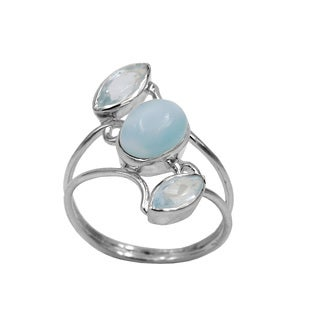 Sterling Silver Larimar and Blue Topaz 3 Stone Ring