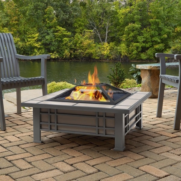 Morrison Cream Tile Outdoor Wood Burning Fire Pit By