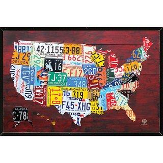 License Plate Map of the US Black Hardboard Frame Poster